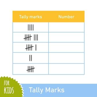 Compito di matematica con segni di conteggio. gioco di conteggio per bambini in età prescolare e scolare. gioco matematico educativo. illustrazione vettoriale isolato su sfondo bianco.
