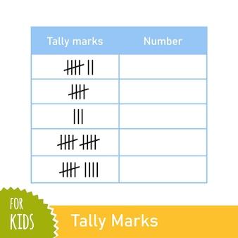 Compito di matematica con segni di conteggio. gioco di conteggio per bambini in età prescolare e scolare