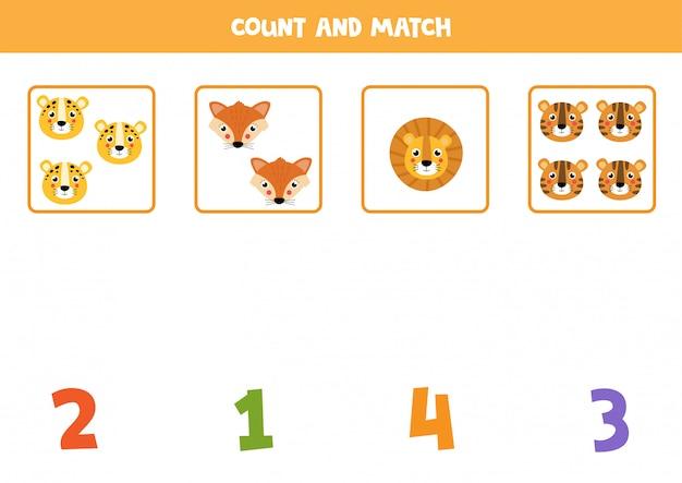 Foglio di lavoro per la matematica per bambini. conteggio del gioco con simpatici volti di animali.