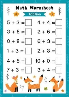 Foglio di lavoro matematico per bambini