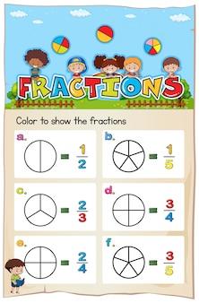 Modello di foglio di lavoro matematico per colorare la frazione