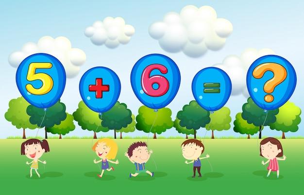 Foglio di lavoro di matematica con i bambini nel parco