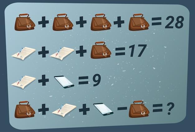 Puzzle di sottrazione matematica aggiunta