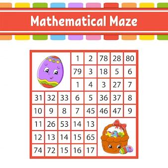Labirinto matematico gioco per bambini. numero labirinto. foglio di lavoro per lo sviluppo dell'istruzione.
