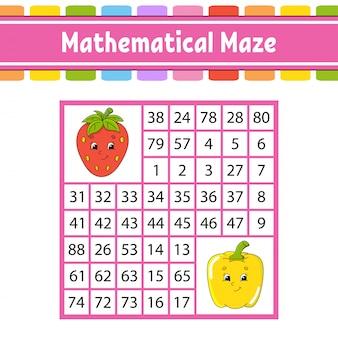 Labirinto matematico. gioco per bambini. numero labirinto.