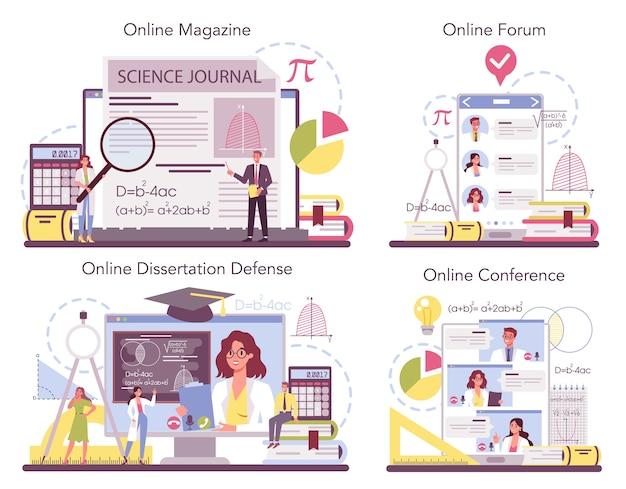 Servizio online di matematico o set di piattaforme.