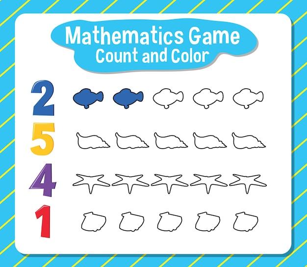 Conteggio del gioco di matematica e foglio di lavoro a colori per lo studente