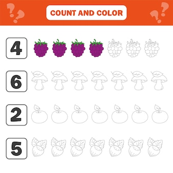 Foglio di lavoro di matematica per bambini. conta e colora attività educativa per bambini con bacche, funghi, noci, mele