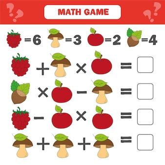 Foglio di lavoro di matematica per bambini. conta attività educative per bambini con bacche, funghi, noci, mele