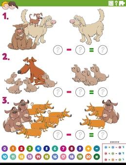 Compito educativo di sottrazione matematica con cani dei cartoni animati