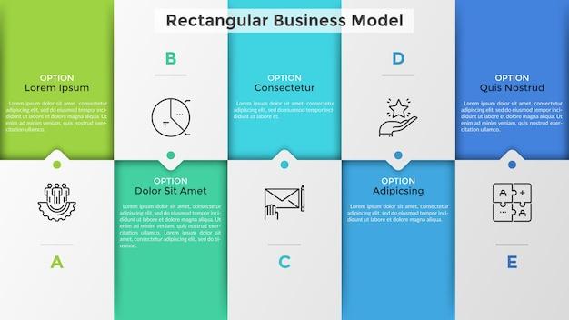 Grafico a matrice con celle, frecce o puntatori sfalsati. modello di business con opzioni rettangolari tra cui scegliere. modello di progettazione infografica piatta. illustrazione vettoriale creativo per presentazione, relazione.