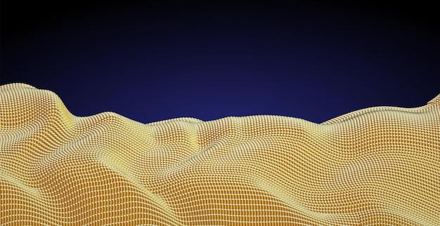 Matrice di innumerevoli blocchi, texture oro, cloud computing.