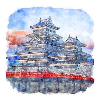 Matsumoto castle japan acquerello schizzo disegnato a mano illustrazione