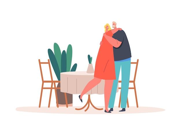 Coppia matura personaggi maschili e femminili che abbracciano o ballano nel ristorante con tavolo servito. relazioni romantiche. amanti amanti dell'uomo e della donna incontri, sentimenti d'amore. cartoon persone illustrazione vettoriale