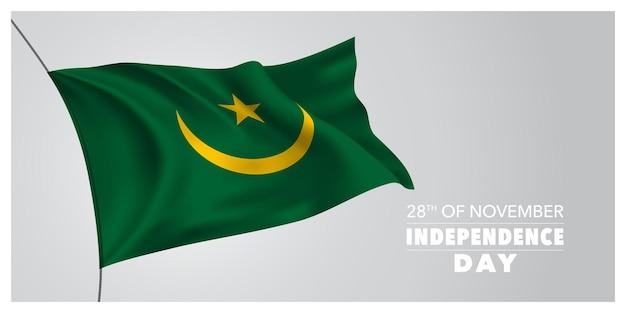 Biglietto di auguri per il giorno dell'indipendenza della mauritania, banner, illustrazione vettoriale orizzontale. festa mauritana del 28 novembre elemento di design con bandiera sventolante come simbolo di indipendenza