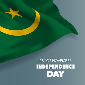 Biglietto di auguri per il giorno dell'indipendenza della mauritania, banner, illustrazione vettoriale. giornata nazionale mauritana del 28 novembre sfondo con elementi di bandiera, formato quadrato