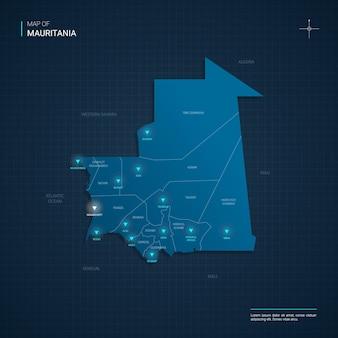 Mappa della mauritania con punti luce al neon blu