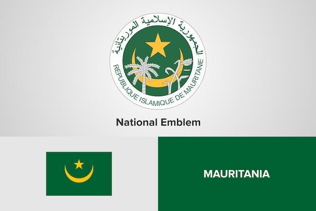 Modello di bandiera nazionale dell'emblema della mauritania