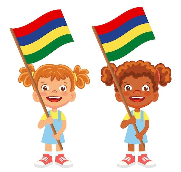 Bandiera di mauritius in mano. bambini che tengono bandiera. bandiera nazionale del vettore di mauritius