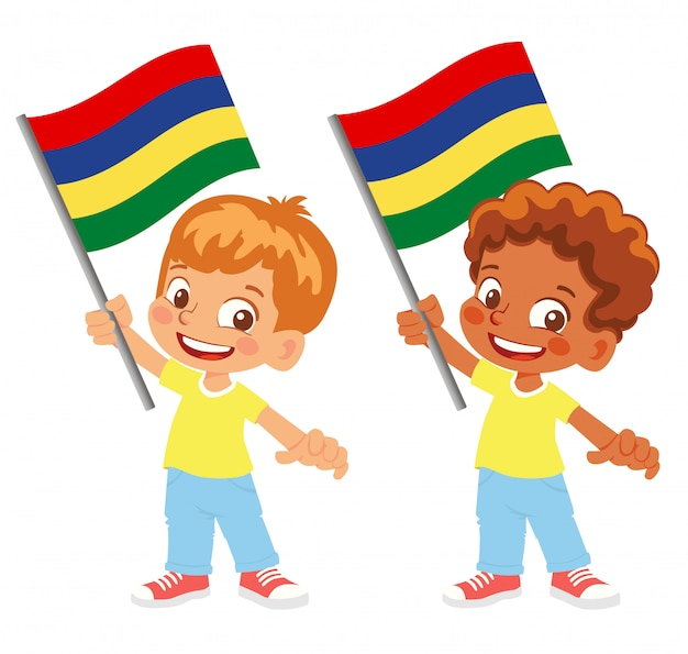 Bandiera di mauritius in mano insieme