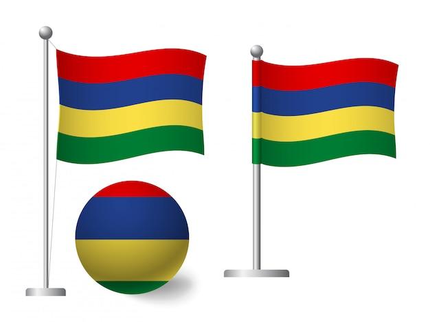 Bandiera delle mauritius su palo e icona palla