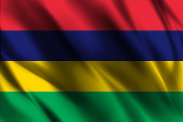 Modello di seta di ondeggiamento della bandiera delle mauritius