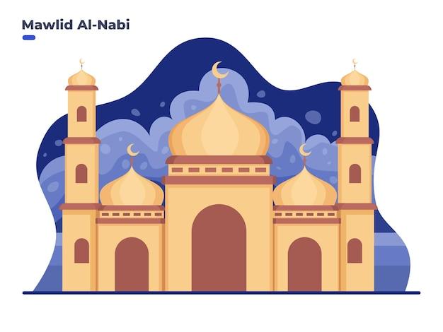 Illustrazione della celebrazione del compleanno di mawlid al nabi muhammad con la costruzione della moschea
