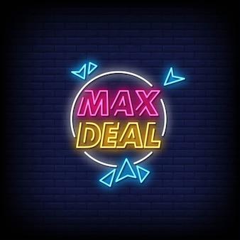 Max deal insegne al neon stile testo