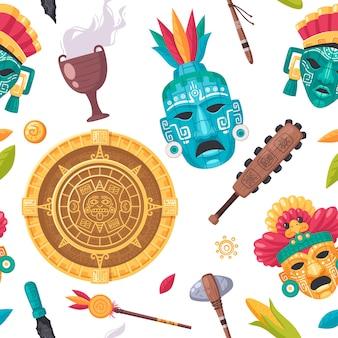 Modello senza cuciture del fumetto di civiltà maya con illustrazione di simboli di religione e cultura