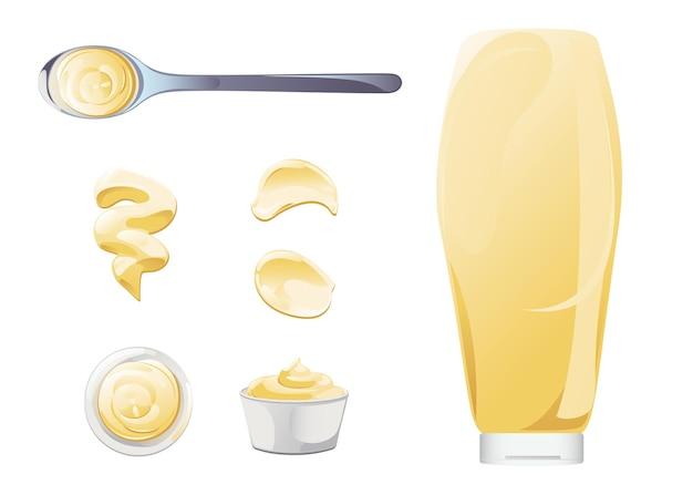 Maionese in ciotola, bottiglia, macchie e set splash. insieme dell'icona della salsa bianca del condimento. illustrazione vettoriale vista dall'alto e frontale.