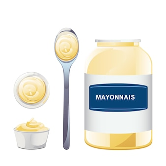 Maionese in bottiglia di vetro con set di cucchiai. vaso con salsa bianca. contenitore per condimenti in stile cartone animato. illustrazione vettoriale.