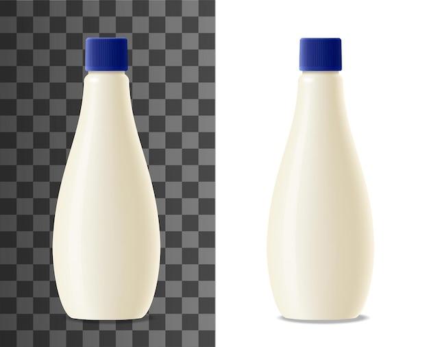 Imballaggio realistico della bottiglia di plastica della maionese mock up. confezione vuota di latte, yogurt o crema di prodotti lattiero-caseari, contenitore bianco di vettore 3d con coperchio blu. mockup di design della bottiglia di salsa di maionese