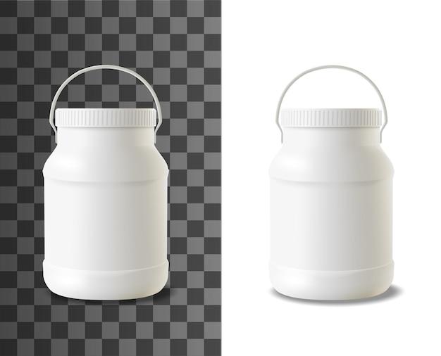 Bottiglia di plastica per maionese. modello di imballaggio realistico di panna acida, yogurt o gelato prodotti lattiero-caseari contenitore bianco vuoto modello vettoriale 3d, barattolo di salsa di maionese con coperchio largo e manico