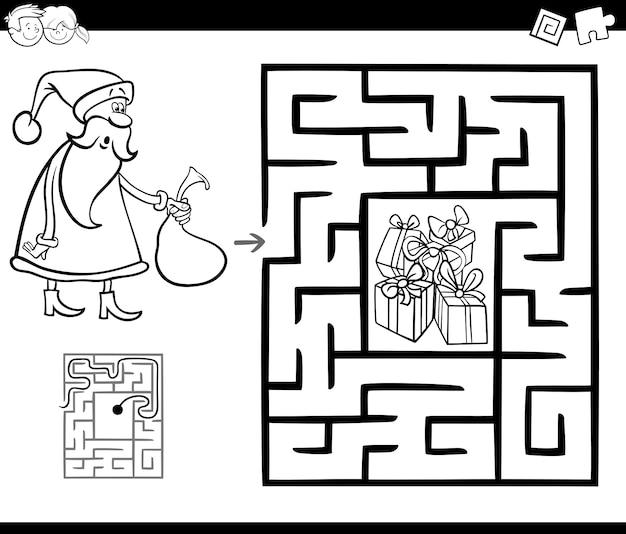 Gioco di attività labirinto con babbo natale Vettore Premium