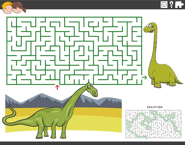 Gioco educativo labirinto con dinosauro dei cartoni animati