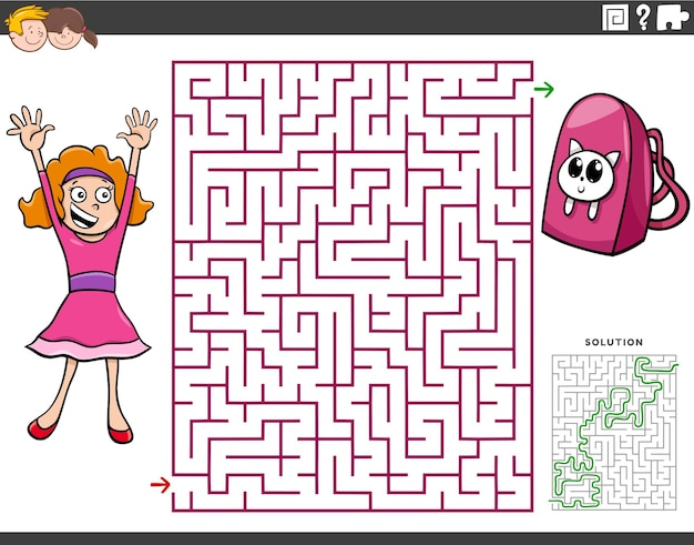 Gioco educativo labirinto con ragazza cartone animato e zaino