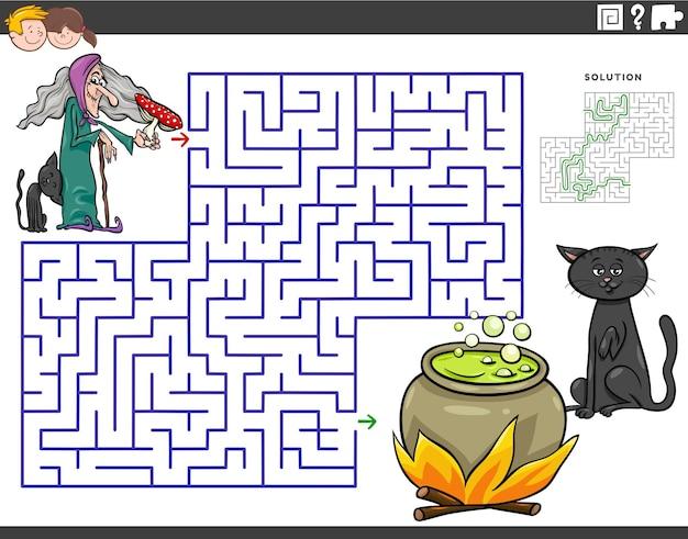 Gioco educativo labirinto con strega e calderone dei cartoni animati