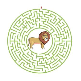 Gioco del labirinto per bambini illustrazione del foglio di lavoro simpatico cartone animato