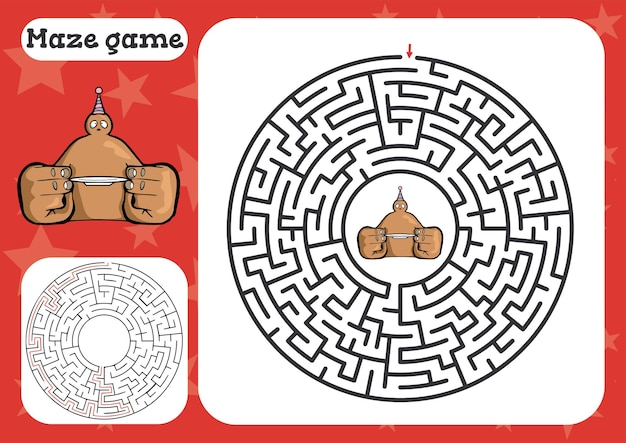 Gioco del labirinto per foglio di lavoro simpatico cartone animato per bambini