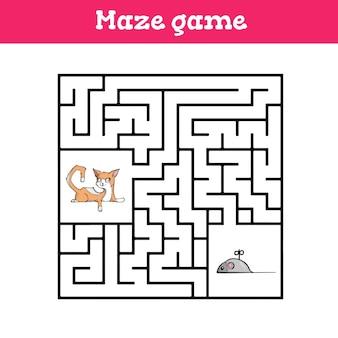 Gioco del labirinto per bambini foglio di lavoro simpatico cartone animato
