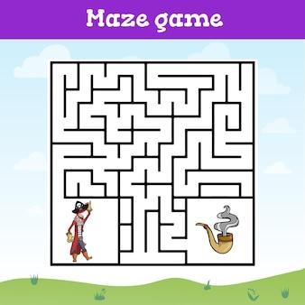 Gioco del labirinto per bambini foglio di lavoro simpatico cartone animato Vettore Premium