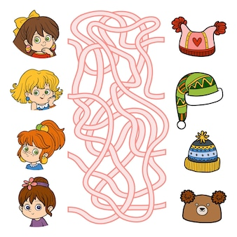 Gioco del labirinto per bambini giochi educativi per bambinibambine e cappelli