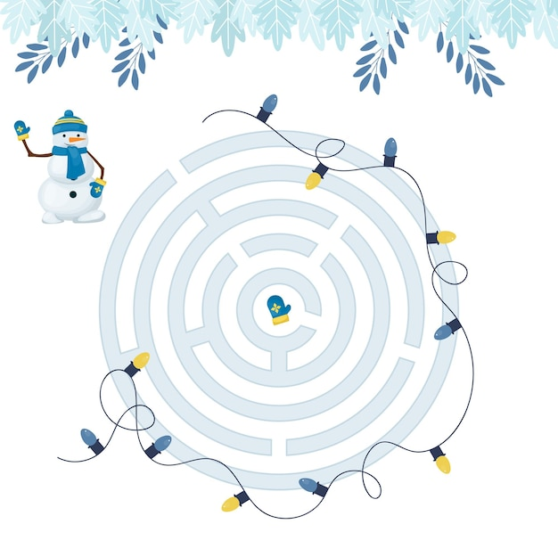 Gioco di labirinti per bambini di homeschooling natalizi.