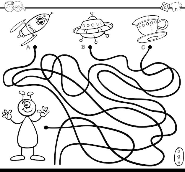 Pagina da colorare gioco del labirinto
