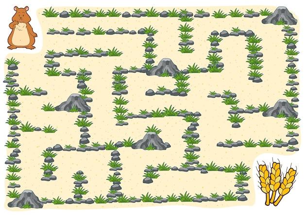 Gioco del labirinto, gioco educativo per bambini, criceto
