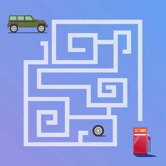 Il gioco del labirinto trova la strada per il vettore premium della stazione di servizio per l'educazione e la raccolta dei bambini
