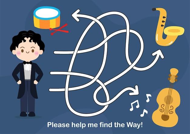 Gioco del labirinto per puzzle per bambini