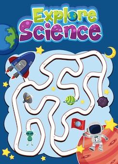 Gioco del labirinto per bambini con esplora il logo scientifico nel tema dello spazio