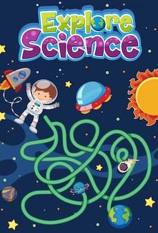 Gioco di labirinti per bambini con esplora il logo della scienza in tema spaziale