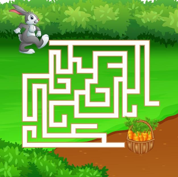 Gioco del labirinto di coniglio alla ricerca di carote
